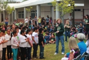 Dr. Erin English and students thank the Donegan Burns Foundations