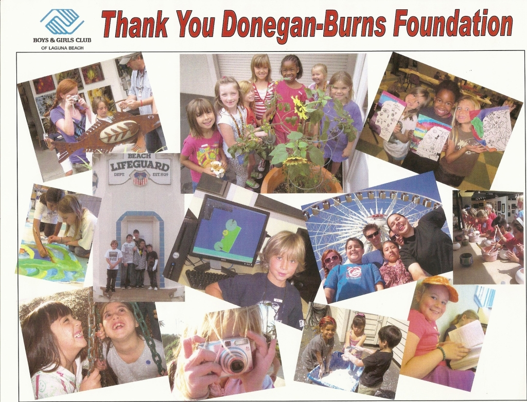 "Laguna Beach Boys and Girls Club students express appreciation in the form of a ""Thank You"" poster board to Donegan Burns Foundation for the Foundation's financial support."