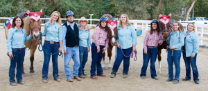 REINS National Anthem singer, riders, and instructors at the hoedown are, from left, Lisa Almendarez, Grace Dickinson, Kris Henderson, Jodi Pinhero, Amie Almendarez, Alyssa O'Kelley, Karrie Almendarez, Nikki Harmer, and Jessica Swenson.
